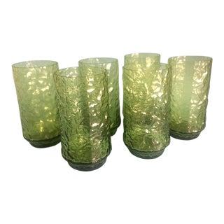 Vintage 70's Lenox Impromptu Green Hand Blown Crystal 'Crinkled' Glasses - Set of 6 For Sale