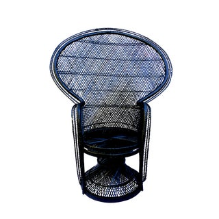 Large Vintage Bohemian Black Peacock Woven Rattan Emmanuelle Chair For Sale