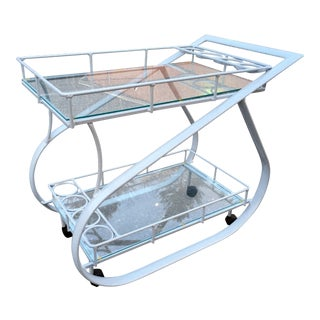 Vintage White Aluminum Modernist Cocktail Bar Cart