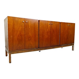 American of Martinsville Walnut & Chrome Credenza For Sale