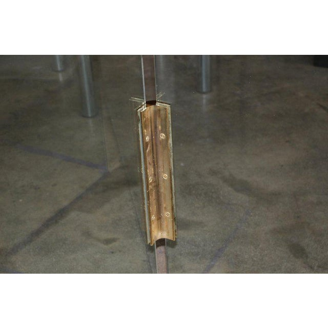 Five-Panel Glass and Brass Hinge Room Divider For Sale - Image 9 of 13