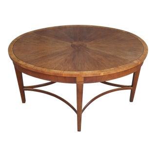 Baker Furniture Laura Ashley Inlaid Mahogany Burlwood Coffee Table For Sale