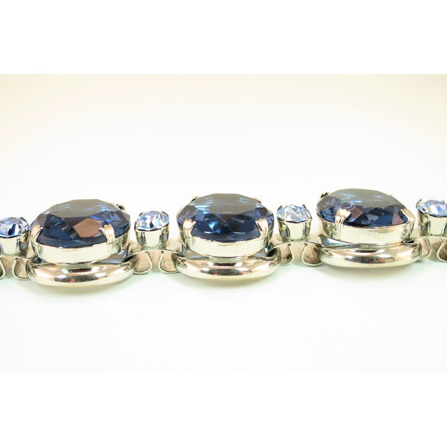 German Oversize Sapphire Headlamp Crystal Bracelet 1950s For Sale In Los Angeles - Image 6 of 12
