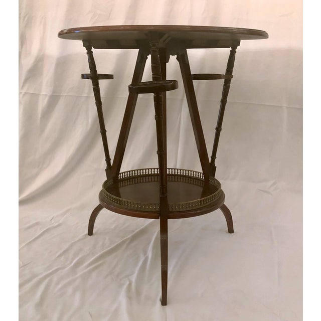 Unusual Antique Rosewood Side Table With Delicate Inlay and Coasters, Circa 1860-1870. For Sale - Image 4 of 6