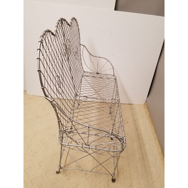 French Victorian Wire Garden Settee or Bench For Sale - Image 3 of 5