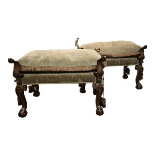 Carved Wood English Benches With Loose Cushions For Sale