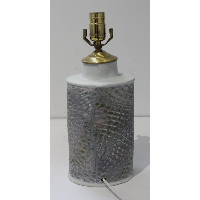 French Vintage Artisan Table Lamp With Feathered Violet Hue Pattern For Sale - Image 3 of 10