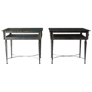 1970s Italian Metal and Glass Side Tables - a Pair