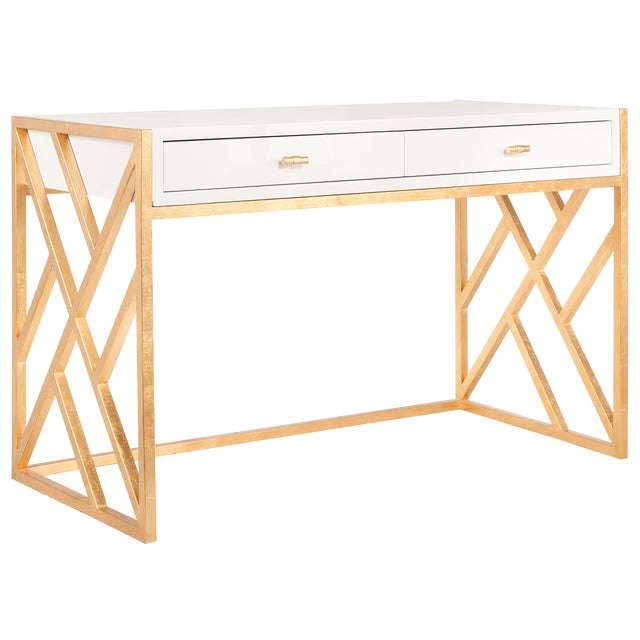 Worlds Away Cordelia White Lacquer & Gold Leaf Lattice Desk For Sale