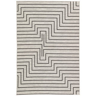 Nikki Chu by Jaipur Living Xantho Indoor/ Outdoor Geometric Silver & Black Area Rug - 9′ × 12′ For Sale