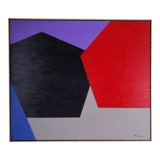 Bold Geometric Abstract Expressionist Painting on Canvas For Sale