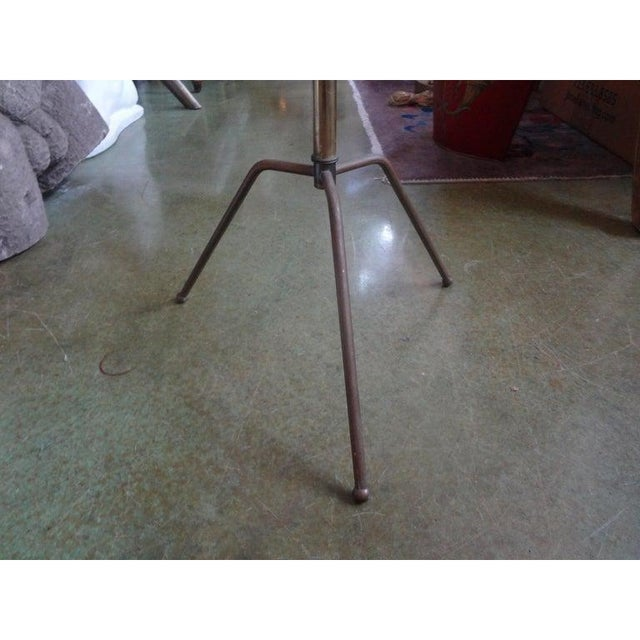 1950s Italian Gio Ponti Inspired Brass and Glass Tripod Table For Sale - Image 5 of 9