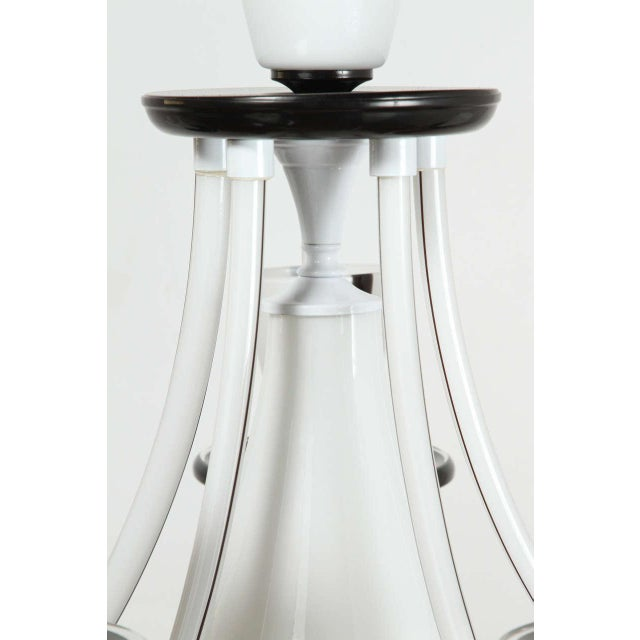 White & Black Murano 5 Arm Chandelier Fixture For Sale In Los Angeles - Image 6 of 10