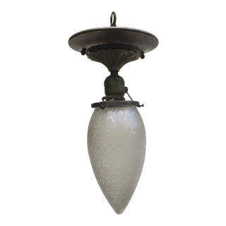 Vintage Brass Ceiling Fixture With Acid Etched Stalactite Shade For Sale
