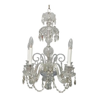 1920s Traditional Crystal 5 Arm Chandelier For Sale