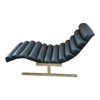 1970s Vintage Milo Baughman for Directional Black Leather Wave Chaise For Sale