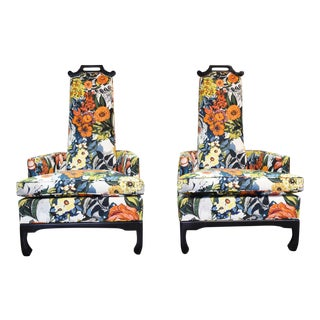 1970s James Mont Style Chairs by Henredon - a Pair For Sale