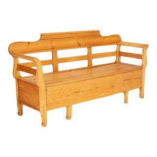 Mid 19th Century Antique Pine Swedish Bench With Storage For Sale