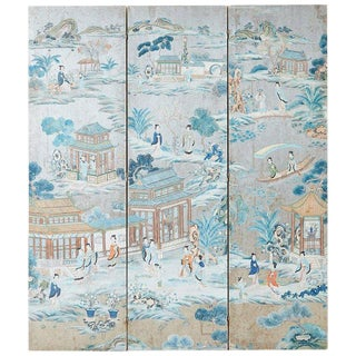 Chinese Qing Three Panel Silver Leaf Painted Screen For Sale