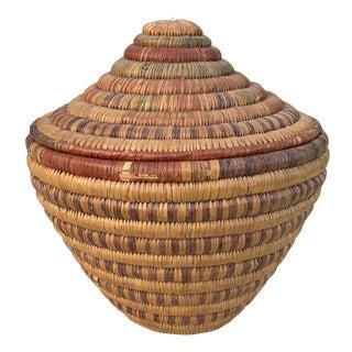 African Handwoven Lidded Basket For Sale