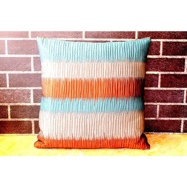 Vintage Floral Handwoven Varanasi Brocade Reversible Pillow For Sale - Image 6 of 13