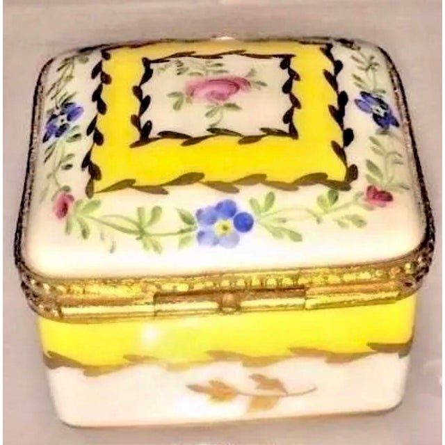 Vintage Limoges Yellow & White Floral Box For Sale - Image 12 of 13