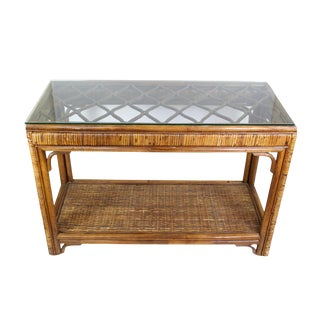 1970's Mid-Century Bamboo Rattan Wrapped Console Table For Sale