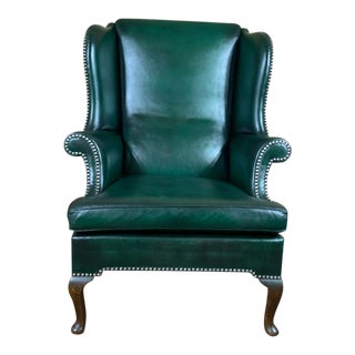 Early 20th-Century English Green Leather Wingback Chair For Sale