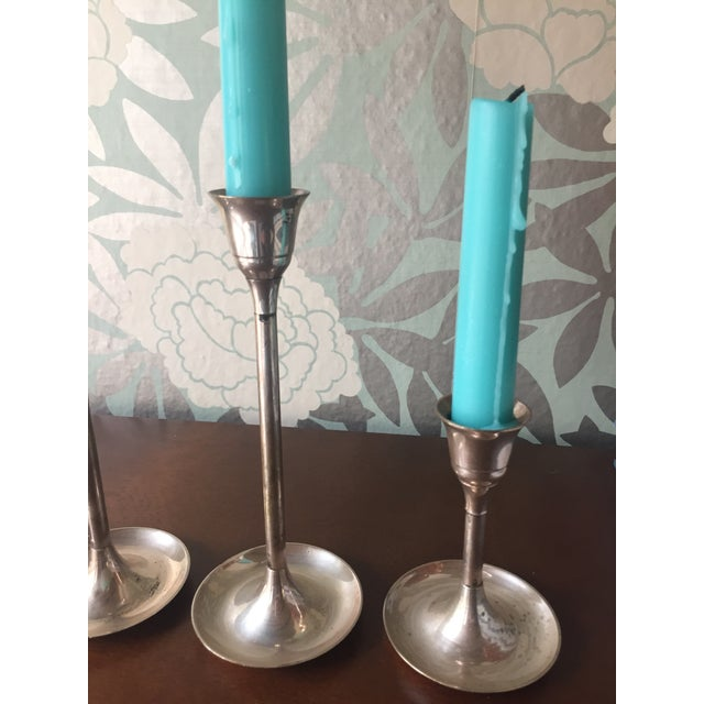 Mid-Century Silver Tulip-Style Candlesticks - Set of 4 - Image 6 of 10