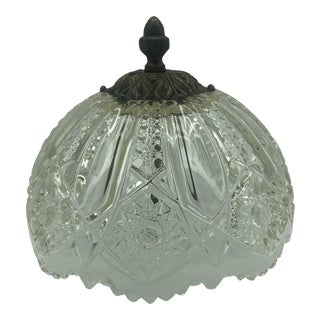 Hollywood Regency Antique Pressed Glass Ceiling Mount Fixture/Globe For Sale