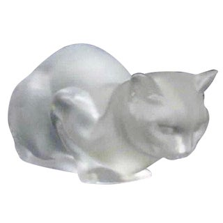 Lalique France Crouching Cat Glass Sculpture For Sale