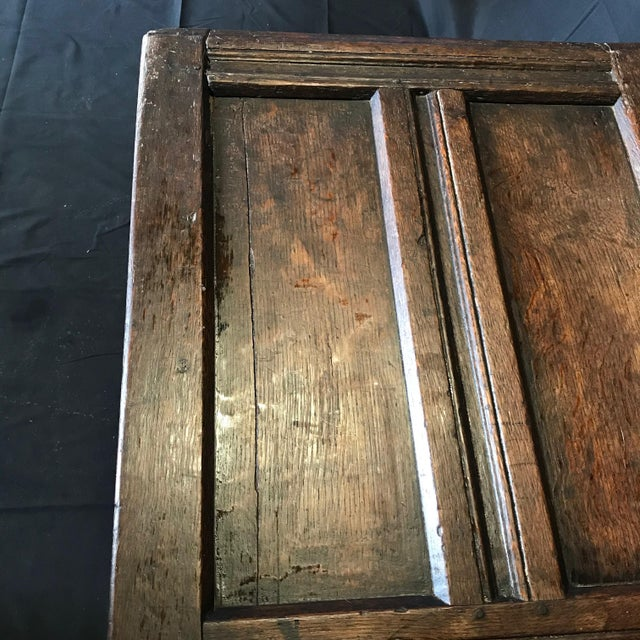 Brown Antique 18th Century Paneled and Carved Scottish Coffer Chest For Sale - Image 8 of 13