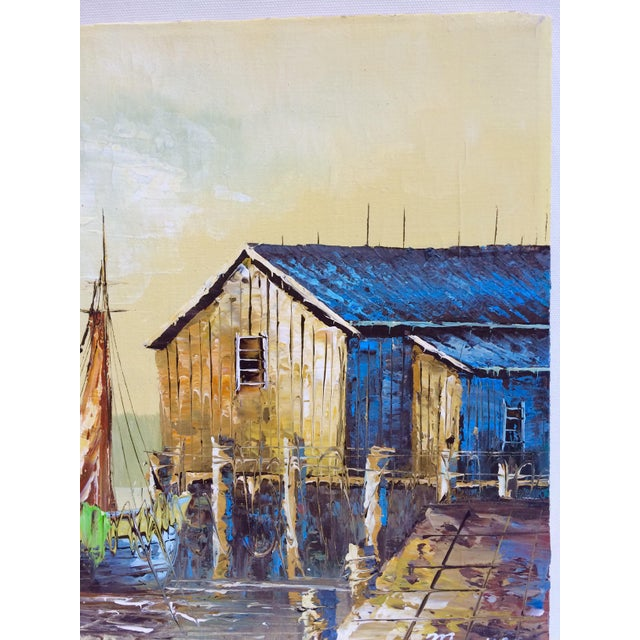 'Ship at the Dock' Mid-Century Oil Painting - Image 4 of 8