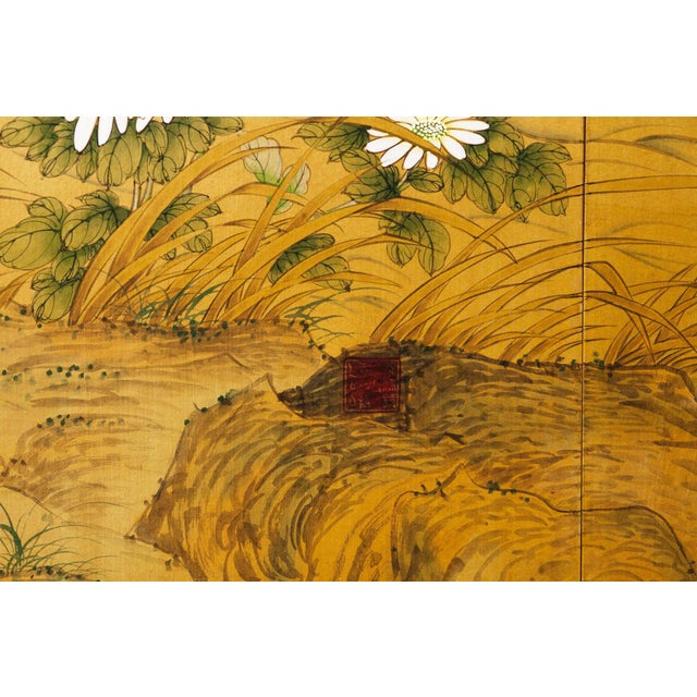 Chinoiserie Sung Tze-Chin Large Chinoiserie Hanging Screen Ink on Silk Birds and Flowers Scene 9 Feet Wide by 7 Feet Height For Sale - Image 3 of 13