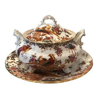 Royal Crown Derby Olde Avesbury Soup Tureen with Underplate For Sale