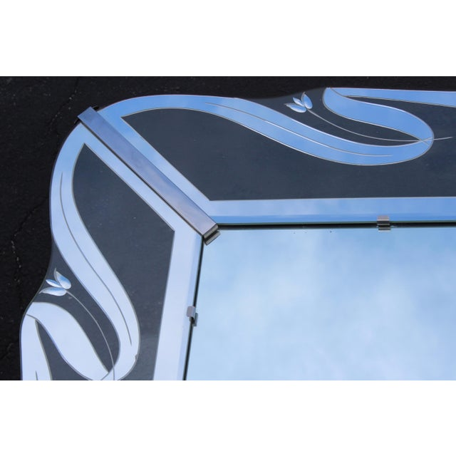 1950s Mid-Century Modern Etched Glass Mirror For Sale - Image 9 of 13