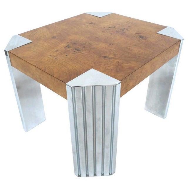 Milo Baughman Chrome And Burl Wood Side Table Chairish