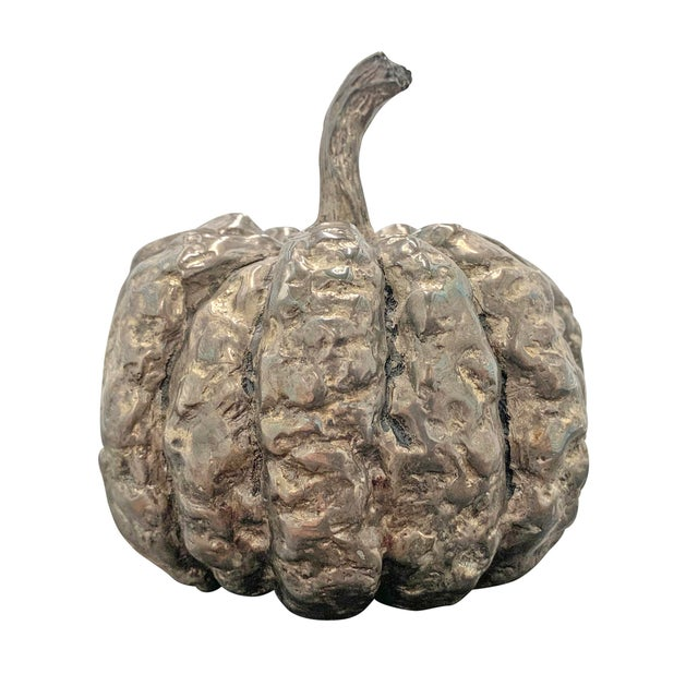 Late 20th Century Silver-Plated Cast Pumpkin Table Ornament For Sale - Image 9 of 9