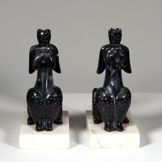 Early 20th C. Alabaster Poodle Bookends - Pair - Image 4 of 5