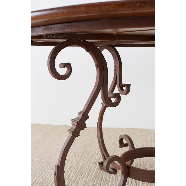 Metal Italian Oak and Scrolled Iron Round Dining Table For Sale - Image 7 of 13