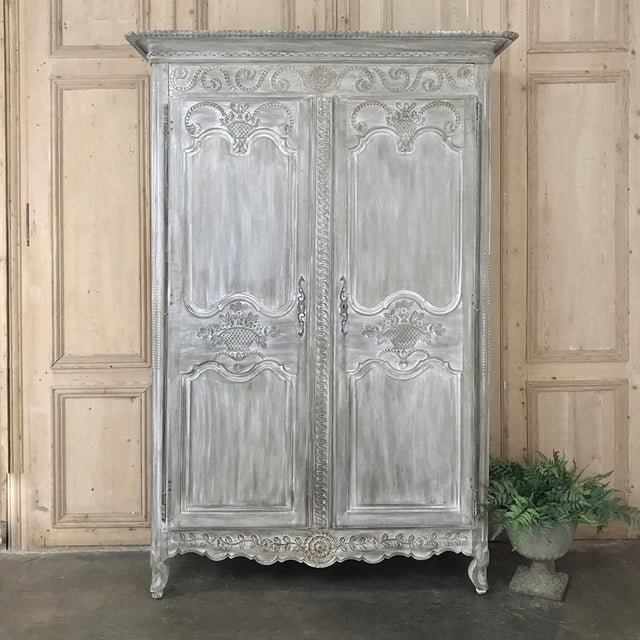 19th Century Country French Provincial Whitewashed Armoire is a masterwork of the rural artisan's trade! Full length...