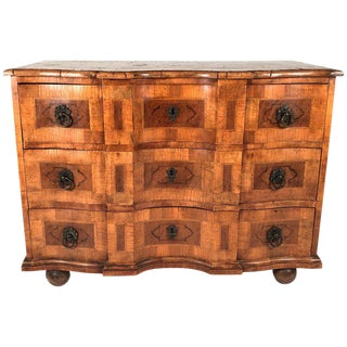 18th Century Austrian Burled Walnut Marquetry Commode For Sale