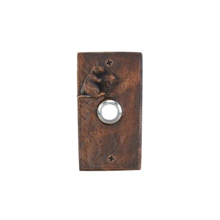 Rectangle Beaver Doorbell with Traditional Patina For Sale