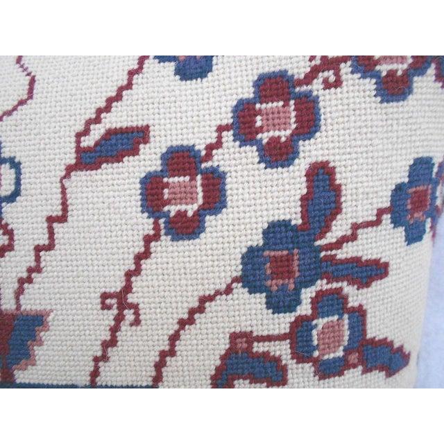 Jonathan Adler Style Vintage Chinoiserie Geometric Vase Needlepoint Pillow - Image 2 of 5