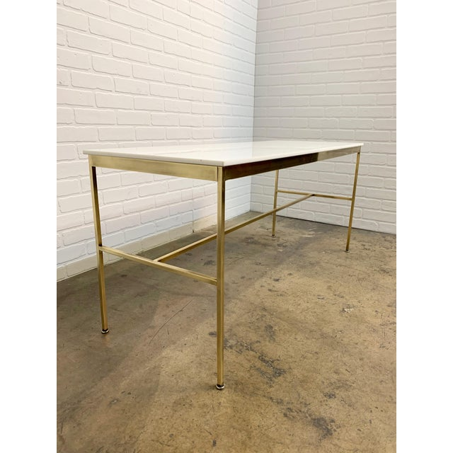 Mid-Century Modern Brass and Vitrolite Console Table by Paul McCobb For Sale - Image 3 of 13