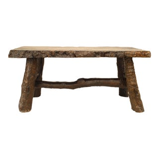 Rustic American Adirondack Style, Walnut Top Dining Table For Sale