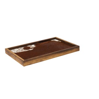 Walnut & Cowhide Breakfast Tray For Sale