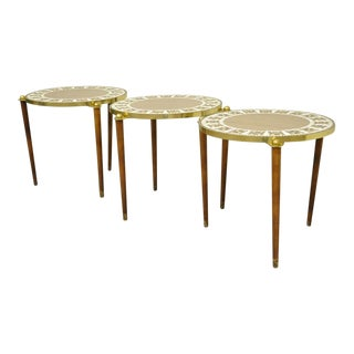 3 Mid Century Modern Round Tile Walnut Brass Nesting Snack Stack End Side Tables For Sale