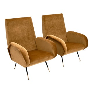 Gold Velvet Vintage Italian Armchairs For Sale