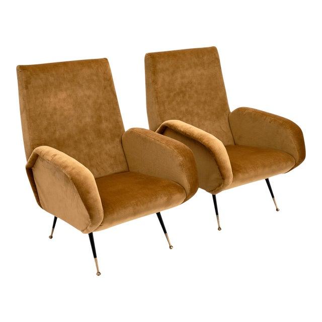 Gold Velvet Vintage Italian Armchairs For Sale